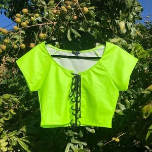 Current Mood green lace up crop top